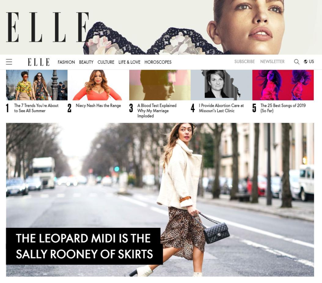 Elle Homepage Example