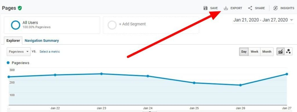 Google Analytics Export