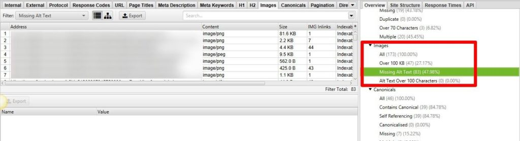 Screaming Frog SEO Elements Images