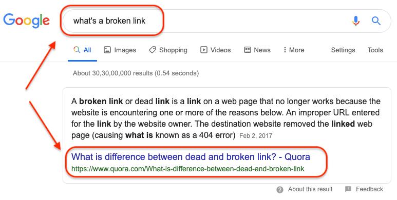 Quora Broken Link