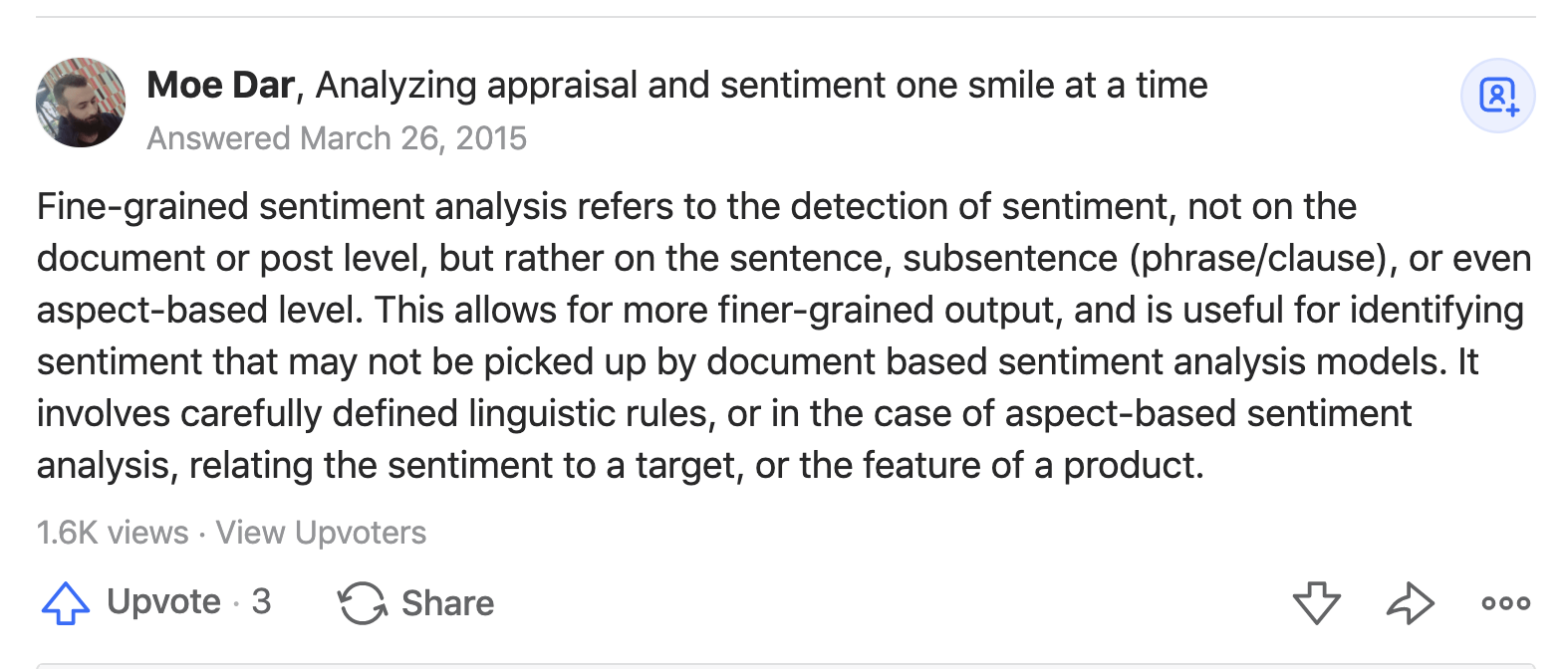 Fine-Grained Sentiment Analysis