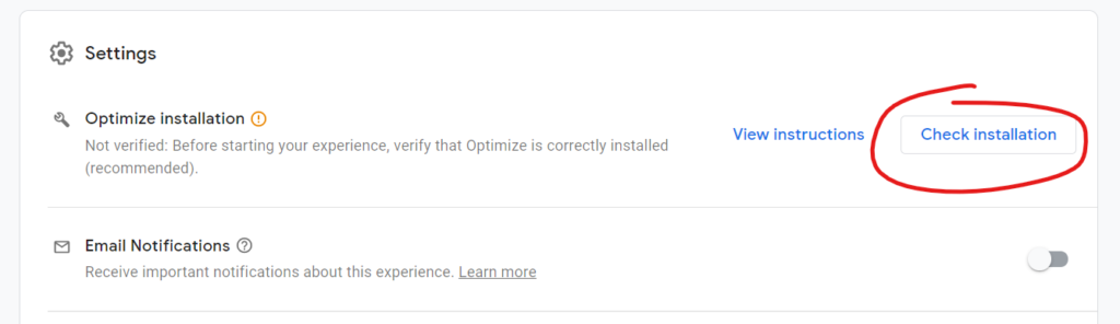 Google Optimize Check Installation