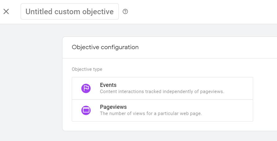 Google Optimize Objective Configuration