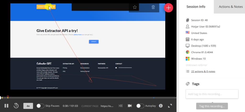 Extractor Screen Recording Hotjar