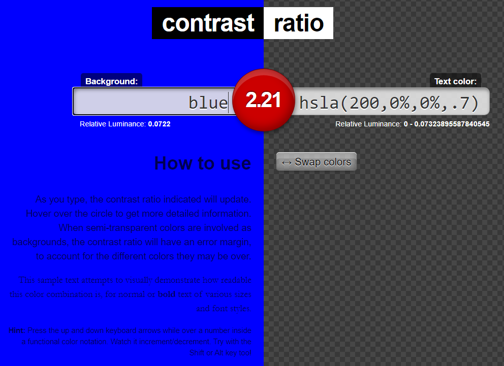 Contrast ratio app screenshot