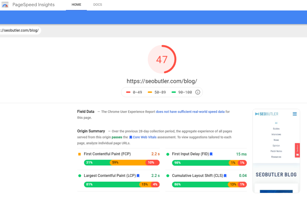 Example of page speed insights by Google